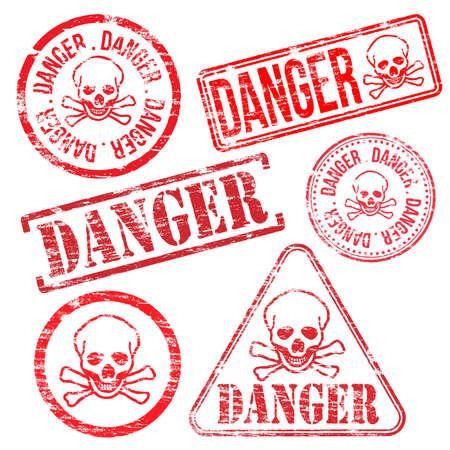 poison sign: Danger stamps. Different shape vector rubber stamp illustrations Illustration