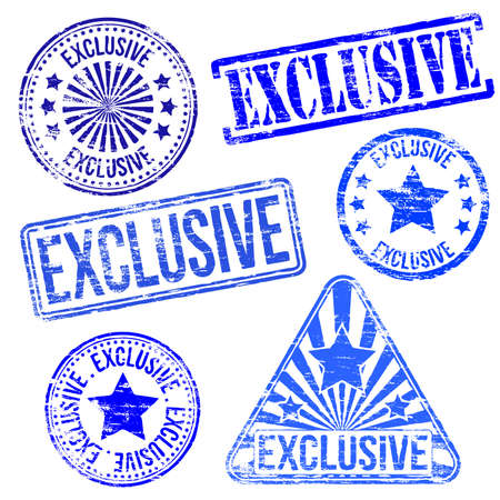 exclusive icon: Exclusive stamps. Different shape vector rubber stamp illustrations Illustration