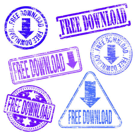 Free download stamps. Different shape vector rubber stamp illustrations Vector