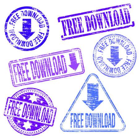 free sign: Free download stamps. Different shape vector rubber stamp illustrations Illustration