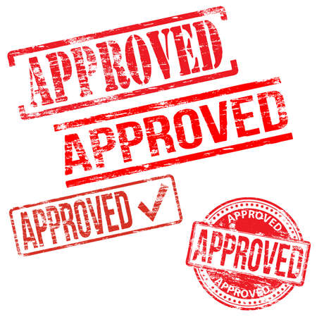 approved sign: Approved stamps. Different shape vector rubber stamp illustrations