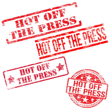 stamp vector: Hot off the press stamps stamps. Different shape vector rubber stamp illustrations Illustration