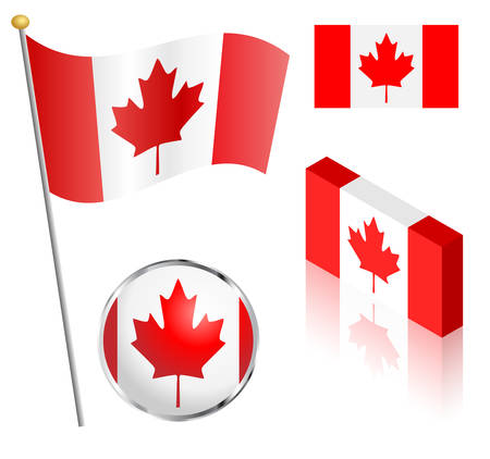 Canadian flag on a pole, badge and isometric designs vector illustration. Иллюстрация