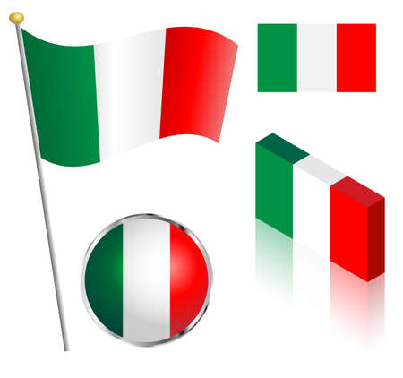 Italian flag on a pole, badge and isometric designs vector illustration.