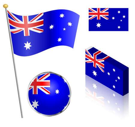 flag vector: Australian flag on a pole, badge and isometric designs vector illustration. Illustration