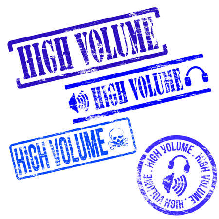 high volume: High volume stamps. Different shape vector rubber stamp illustrations