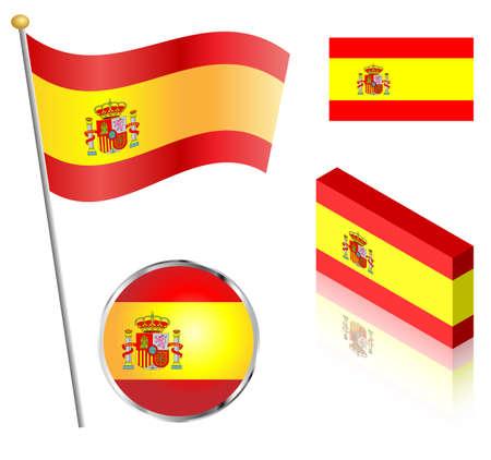 bandiera spagnola: Bandiera spagnola su un palo, distintivo e disegni isometrici illustrazione vettoriale.