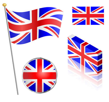 UK Union Jack flag on a pole, badge and isometric designs vector illustration. Vector