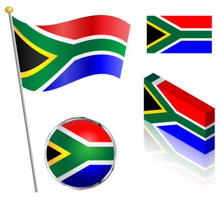 south african flag: South African flag on a pole, badge and isometric designs vector illustration. Illustration