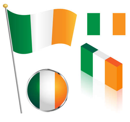 eire: Southern Ireland flag on a pole, badge and isometric designs vector illustration. Illustration
