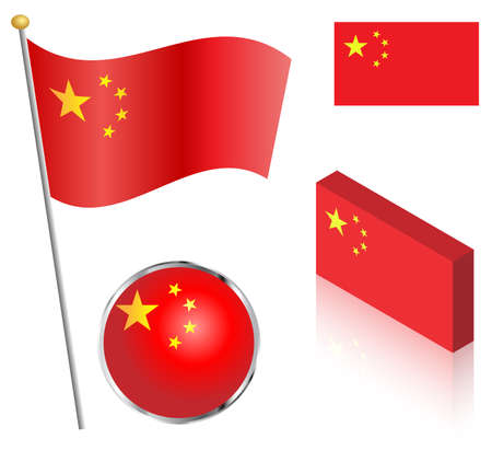 Peoples Republic of China flag on a pole, badge and isometric designs vector illustration.