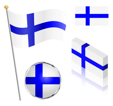 finnish: Finnish flag on a pole, badge and isometric designs vector illustration.