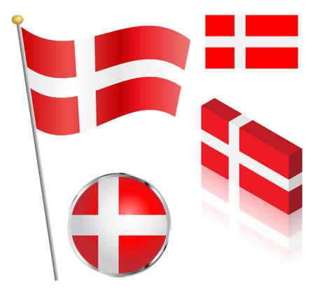 danish flag: Danish flag on a pole, badge and isometric designs vector illustration.
