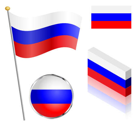 russian federation: Russian Federation flag on a pole, badge and isometric designs vector illustration.