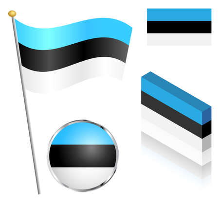 estonian: Estonian flag on a pole, badge and isometric designs vector illustration. Illustration