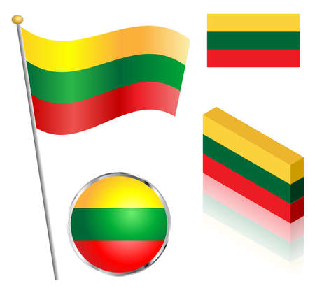 lithuanian: Lithuanian flag on a pole, badge and isometric designs vector illustration.