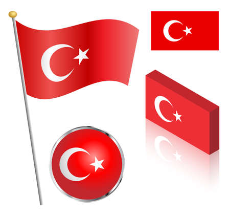 turkish flag: Turkish flag on a pole, badge and isometric designs vector illustration.