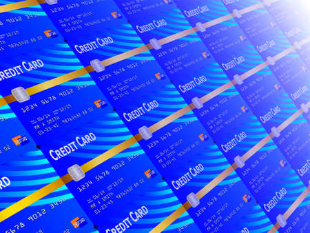 dept: Blue credit cards in perspective background illustration Stock Photo