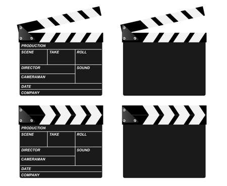 filming: Movie clapper board vectors. Open, closed and blank. Illustration