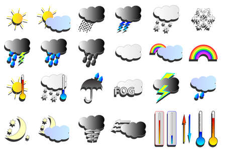 heatwave: Weather vectors. Snow, wind and rain weather map icons.