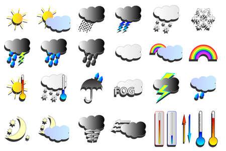 Weer vectoren. Sneeuw, wind en regen weerkaart pictogrammen.