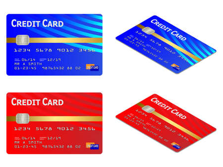 dept: Isolated and isometric credit card vector illustrations