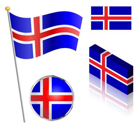 icelandic flag: Bandera de Islandia en una ilustraci�n vectorial polo, insignia y dise�os isom�tricos.
