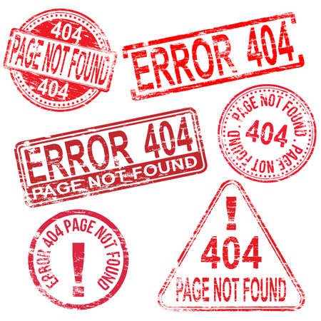 404 Error page not found stamps. Different shape vector rubber stamp illustrations Vector