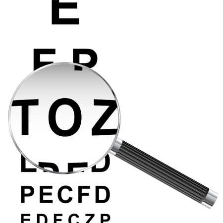 eye chart: Magnifying glass over eye chart vector illustration