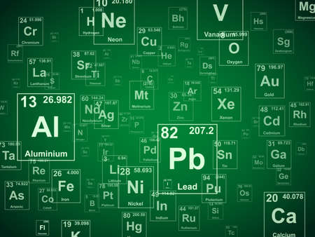 Periodic table of the elements. Green background illustration Ilustração
