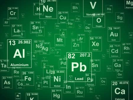 periodic: Tavola periodica degli elementi. Sfondo verde illustrazione Vettoriali