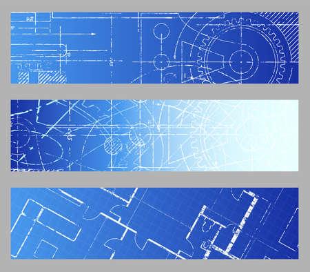 Technical blueprint engineering web banner vector backgrounds