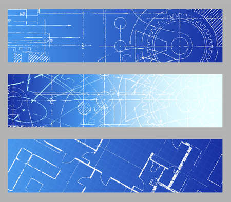 Technische blauwdruk techniek web banner vector achtergronden