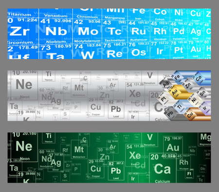 elemental: Chemical elements periodic table web banner vector backgrounds