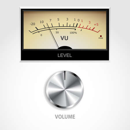 input output: Vector audio VU meter and volume knob