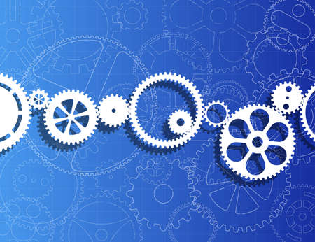 White gears against gear wheels blueprint background