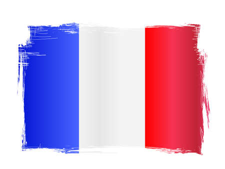 Grungy and distressed French flag vector illustration Çizim
