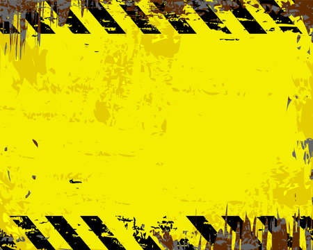 dangerous construction: Grungy yellow and black blank metal sign vector illustration