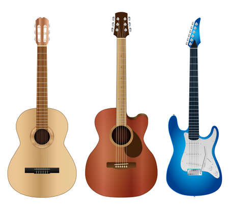 stringed: Highly detailed classical, acoustic and electric guitars vector illustration.
