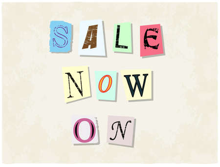 ransom: Sale Now On. Torn paper letters on faded background vector illustration