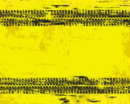 tyre tread: Grungy tyre marks tread pattern on warn sign vector background