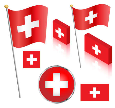 Swiss flag on a pole. Traditional square, and non-traditional rectangular badge and isometric designs vector illustration. Ilustração