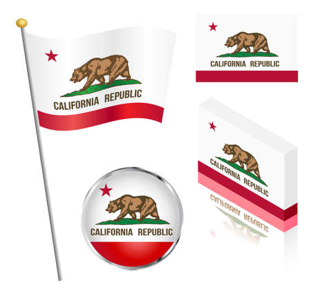 waving flag: State of California flag on a pole, badge and isometric designs vector illustration. Illustration