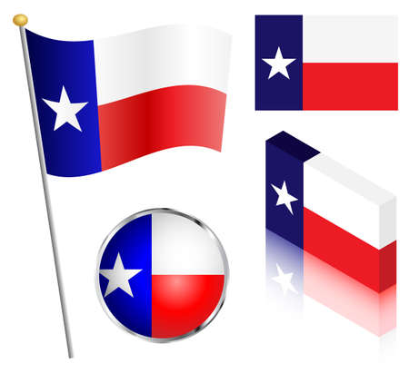 texas state flag: State of Texas flag on a pole, badge and isometric designs vector illustration.
