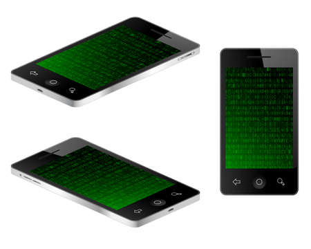 hexadecimal: Tablet mobile phone in three views with hexadecimal data background. Vector illustration Illustration
