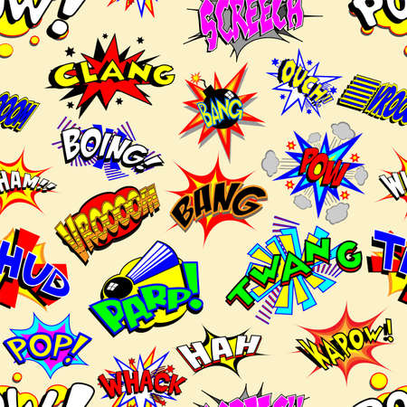 zap: Colorful cartoon text captions. Explosions and noises. Tileable vector wallpaper background that repeats left, right, up and down