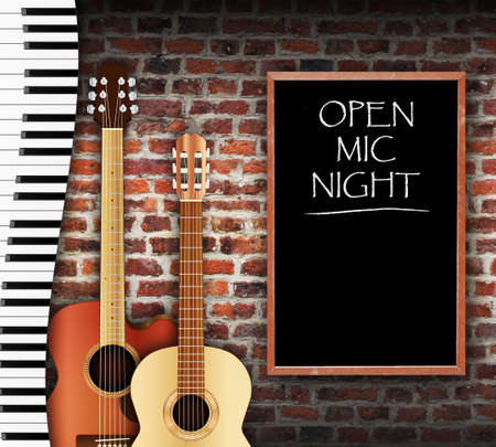 Guitars and keyboard against brick wall background and open mic night written on blackboard