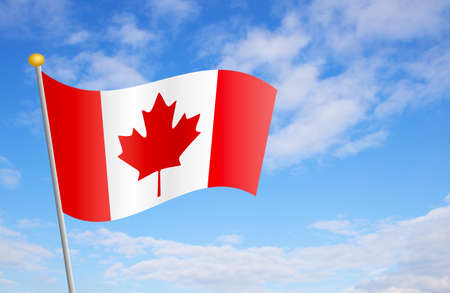 canadian flag: Canadian flag against cloudy blue sky background