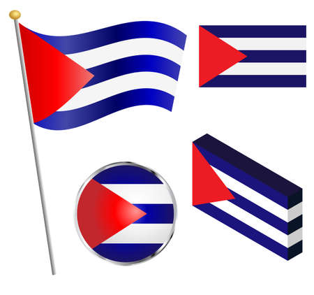 cuban flag: Cuban, Cuba flag on a pole, badge and isometric designs vector illustration.