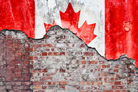 broken wall: Canada Wall. Grungy old brick wall with Canadian flag on broken render surface
